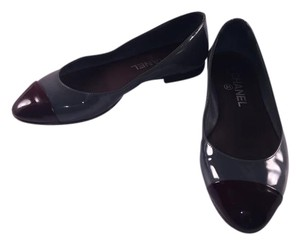 Chanel Cc Ballerines Patent Two-tone Gray and Burgundy Wine Flats