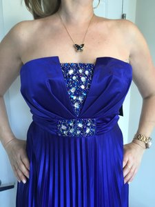 My Michelle Royal Blue Strapless Embroidered Dress