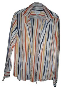 A|X Armani Exchange Summer Stripes 100% Cotton Button Down Shirt Multi-Color