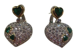 Harry Winston VINTAGE HARRY WINSTON 18KT WHITE YELLOW GOLD EMERALD AND DIAMOND HEART EARRINGS