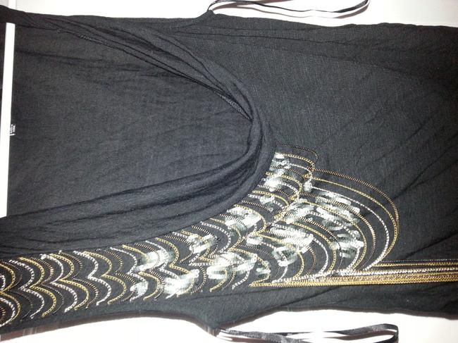 Miss Me Chain Sequin Sleeveless Party Unique Top black