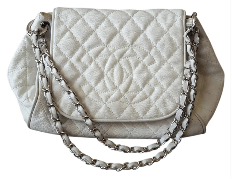 7f9d13742460d6 Chanel Accordion Flap Off White Caviar Shoulder Bag - Tradesy