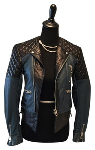 Balenciaga Quilted Blue/Black Leather Jacket