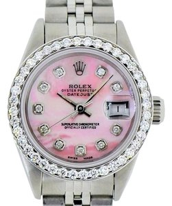 Rolex Ladies Rolex DateJust Stainless Steel 26mm Watch Pink MOP Diamond Dial Bezel