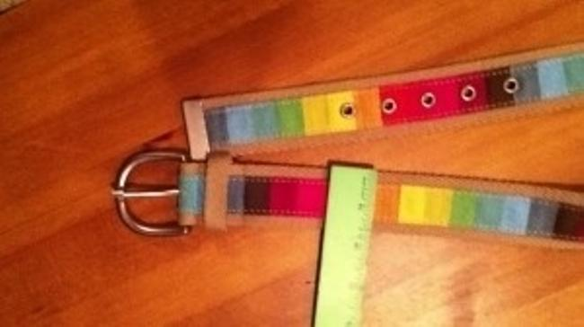 Rainbow Woven Webbed Summer Solid Buckle Fits 34 -38 Belt Rainbow Woven Webbed Summer Solid Buckle Fits 34 -38 Belt Image 2