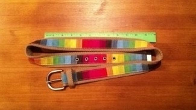 Rainbow Woven Webbed Summer Solid Buckle Fits 34 -38 Belt Rainbow Woven Webbed Summer Solid Buckle Fits 34 -38 Belt Image 3