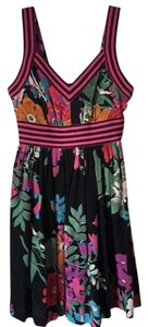 Plenty by Tracy Reese short dress Black with magenta pink band and flowers in multi color on Tradesy