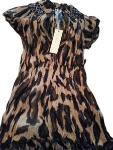 lucy and co. Cheetah Chiffon Breaded Top