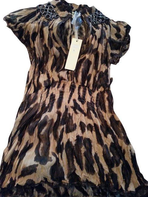 lucy and co. Cheetah Chiffon Breaded Peplum Party Top