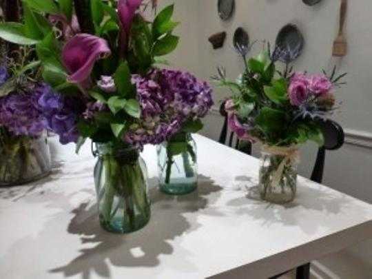 Blue and Clear Vintage Glass Mason Jars Centerpiece