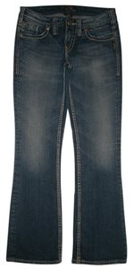 Silver Jeans Co. 5 Pocket Style Zip Fly Cotton/spandex Low Rise Aiko Boot Cut Jeans-Medium Wash