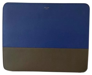 Céline Celine iPad Case in Taupe & Blue Colorblock Leather