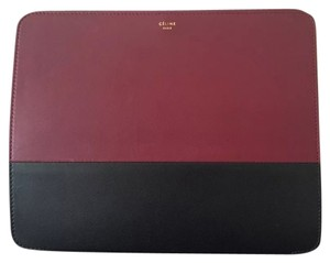 Céline Celine iPad Case in Black & Burgandy Colorblock Leather