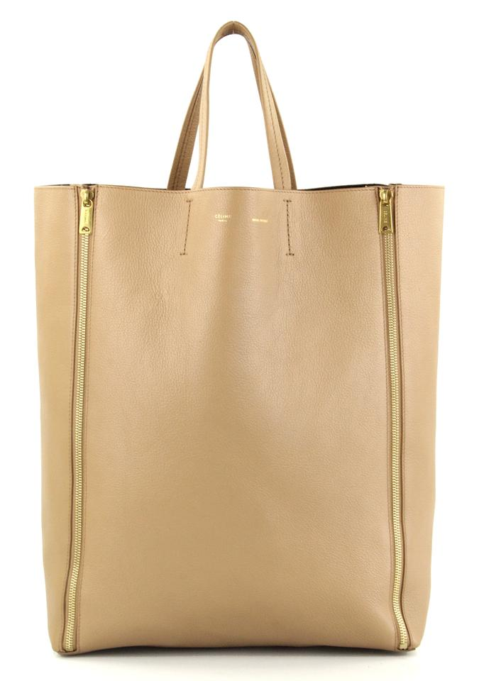Céline Vertical Gusset Zip Cabas Nude Leather Tote - Tradesy a1ef0843e5245