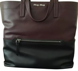 Miu Miu Wine Tote in Black & Burgandy