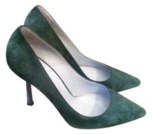 Sergio Rossi Suede Pointed Toe Designer Suede Green Pumps