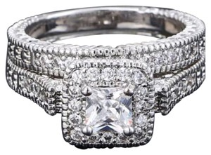 New AAA CZ & White Sapphire 18k White Gold Filled Wedding Ring Set 6, 7, 8