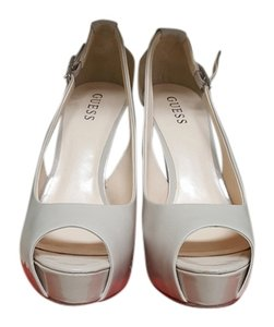 Guess By Marciano Patent Leather Peep Toe Stiletto Nude Platforms