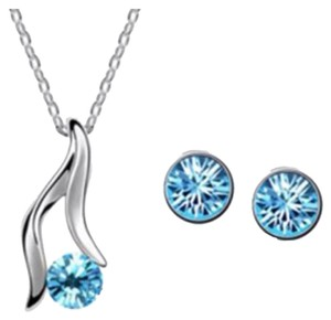 Other Swarovski Crystal Style Women's Elegant Silver Plated Ocean Blue Austrian Crystal Bridal Necklace & Earrings 1 Set