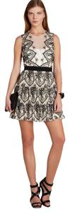 BCBGMAXAZRIA Lace Tiered Sheer Insets Sheer Illusion Dress