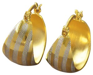 Other Stunning 2 Tone 9K Yellow & White Gold Filled Womens Hoop Earrings