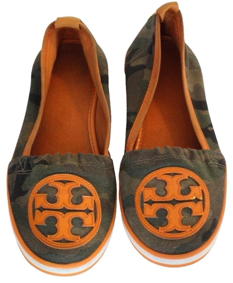 e78c8f966d09 Tory Burch Brown Orange Limited Edition Camouflage Canvas Beach Flats