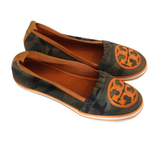 Tory Burch Miller Eddie Monogram Reva Leather Brown Flats