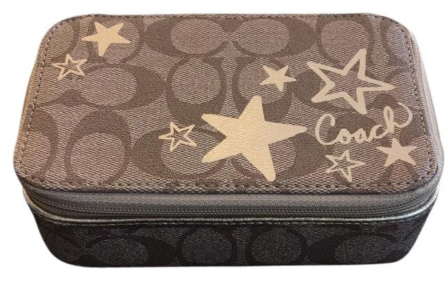 Item - Brown and Gold Signature Heritage Star Travel Jewelry Case Cosmetic Bag