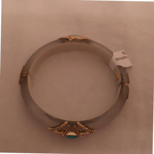 Alexis Bittar NEW! Art Deco Style Warm Gray W/Crystals Turquoise Gold Alexis Bittar