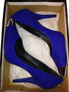Necessary Clothing Royal Blue And Silver Pumps
