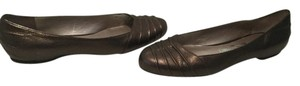 Salvatore Ferragamo Italian Dark bronze embossed leather Flats