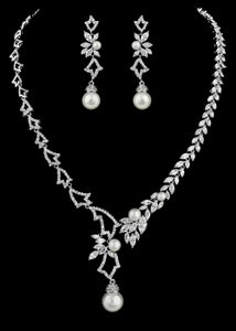Stunning Pearl And Cz Bridal Jewelry Set