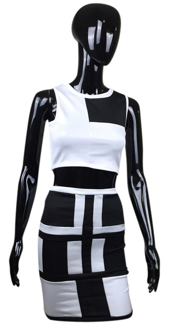 Other Pencil Crop Top Skirt Black and White
