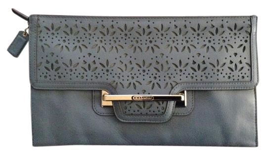 Coach New And Unused With Tags And Dust Denim Blue Clutch