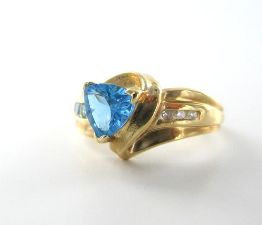 Other 14KT SOLID YELLOW GOLD 3 DIAMOND .3 CARAT RING BLUE STONE SZ 7 ENGAGEMENT JEWEL