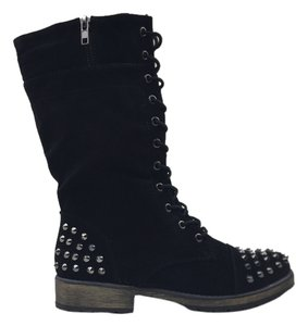 Boots Spikes Motorcycle Black Flats