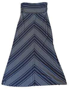 Bella Luxx Cotton Stretch Elastic Maxi Skirt Navy and White