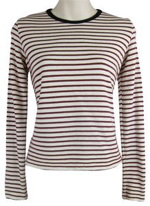 Anthropologie Striped Soft Longsleeve Top red, white