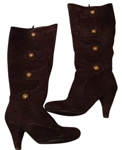 Naughty Monkey Suede Leather Button chocolate brown Boots