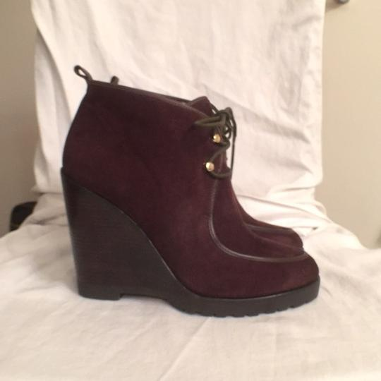 Michael Kors Suede Leather Ankle Lace Ups Wedge Brown Boots