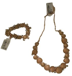 Charter Club Charter Club Gold-Tone Rose Peach Sugar Plum Frontal Necklace & Bracelet $69