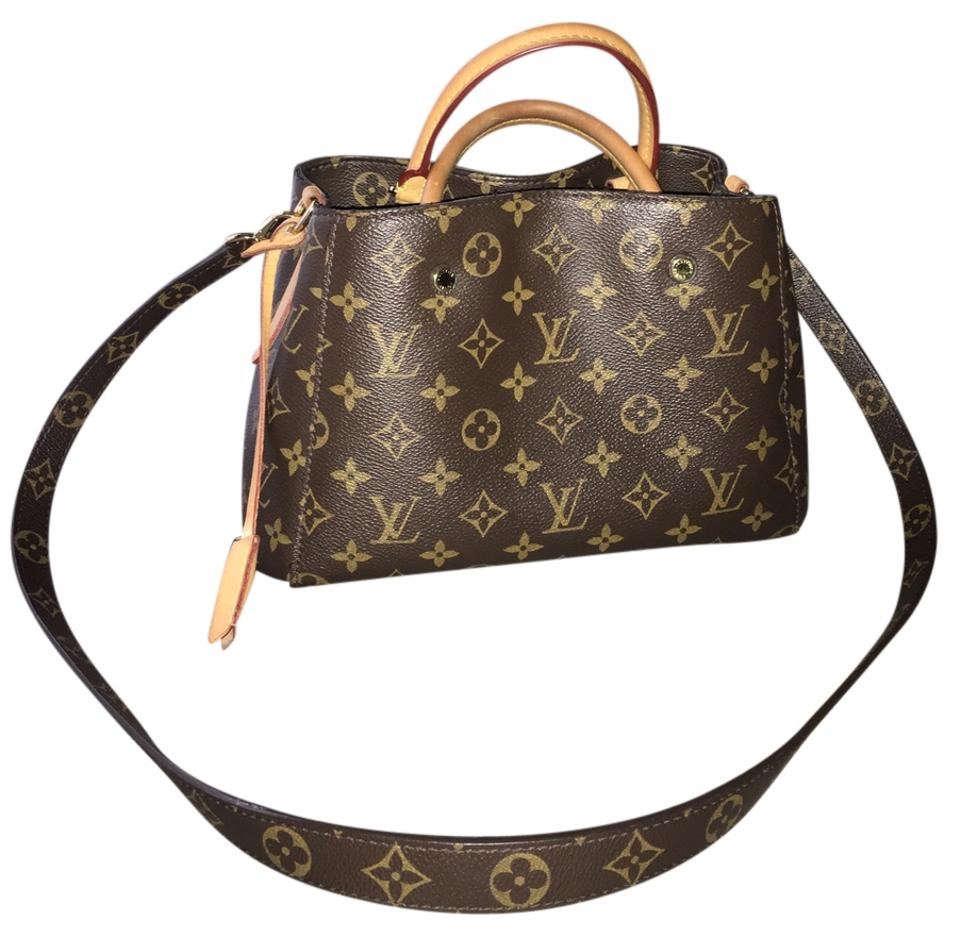Louis Vuitton Montaigne Bb Mini Micro Nano Shoulder Tote Handbag Monogram  M41055 Brown Canvas Cross Body Bag 8a6235167d166