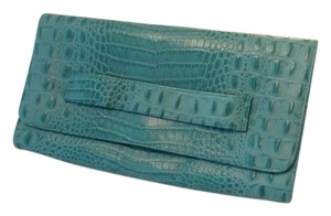 JJ Winters Crocodile Interior Pocket Handle Front Flap Fabric Interior Turquoise Clutch
