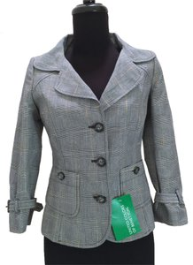 United Colors of Benetton Plaid New With Tags gray Blazer