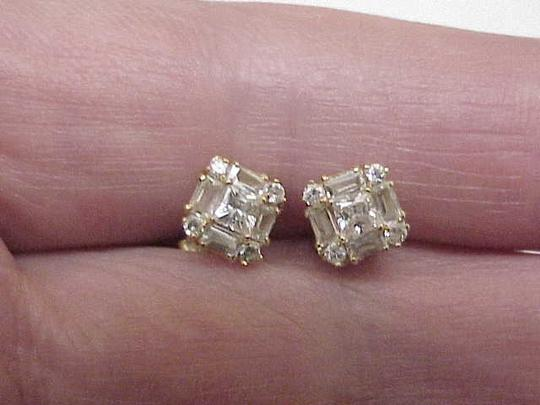 Other Unisex Estate Vintage 14kt Yellow Gold Earrings 2.00cttw Cubic Zirconia,1950s