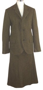 Ralph Lauren Ralph Lauren Collection Skirt Suit Cashmere Alpaca 10 Green Herringbone