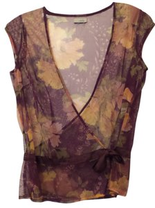 Odille Anthropologie Cardigan Sheer Top Purple, peach, green, off-white