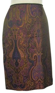 Ellen Tracy Pencil Skirt Brown Paisley
