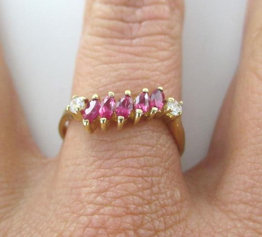 Other 14KT SOLID YELLOW GOLD RING SYNTHETIC RUBY ZIRCONIA SZ8 FINE JEWELRY ENGAGEMENT