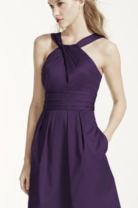 David's Bridal Plum Short Cotton Dress With Y-neck And Skirt Pleating Style 83690 Dress